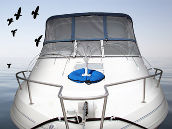 Place visual clues such as reflective items around the boat